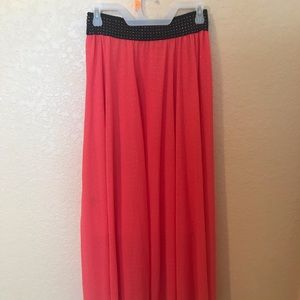 Salmon studded maxi skirt